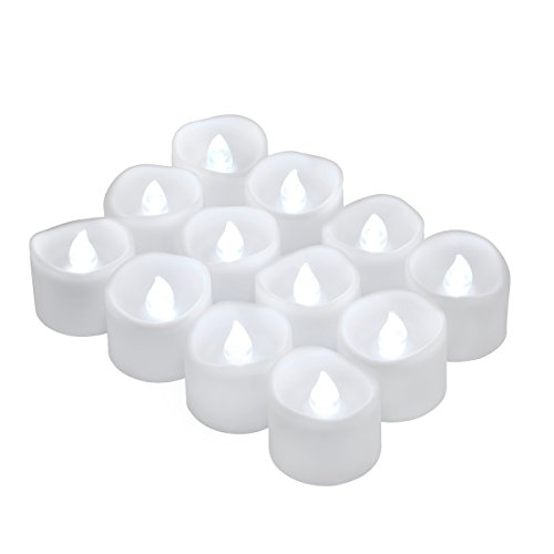 Oria LED Candles Tea Lights, 12 Pack Flickering Flameless Candles, Realistic Battery Operated Fake Candle with Pure White Bulb Light for Halloween Decoration, Festivals, Weddings Propose etc.