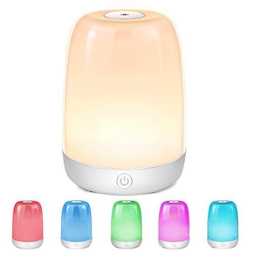 LED Nachttischlampe Dimmbar Atmosphäre Nachtlicht Tischlampe LED Nachtlampe, 3 Helligkeitsstufen & RGB 6 Farbwechsel USB Aufladbar Tragbar für Schlafzimmer, Büro, Lesen, Stillen