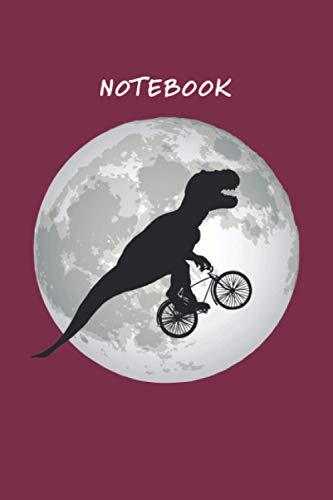 Notebook, Journal, Diary. A t-rex riding a bike through the night sky.