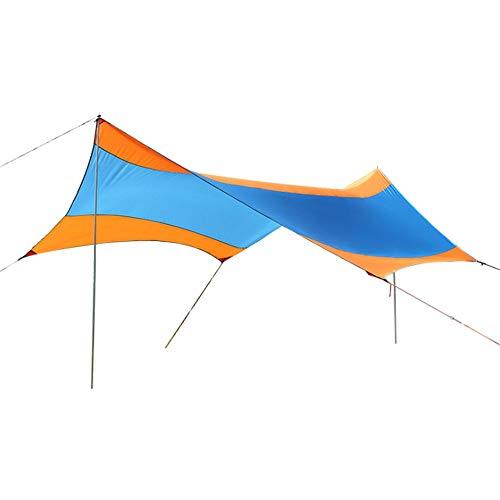 DLSMB-SP Beach tent Draagbare Camping Tarp Shelter 18x18.4 Voeten Waterdichte Hangmat Regen Fly Tent Met Stakes Polen Touwen Overlevingsuitrusting Kit Voor Vissen Picknick Outdoor Reizen