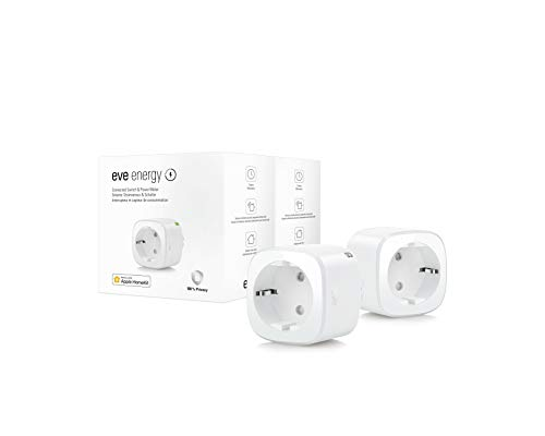 Eve Energy, 2 unidades - Enchufe inteligente conmutable, certificado TÜV, medición de consumo, horarios, enciende y apaga los dispositivos, sin necesidad de bridge, Bluetooth/Thread, Homekit