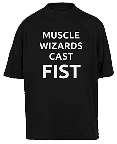 Muscle Wizards Cast Fist Camiseta Holgada Hombres Mujeres Unisex Negra Algodon Organico tee Baggy T-Shirt Unisex Black XL