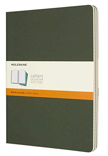 Moleskine Cahier Journal, Set 3 Quaderni con Pagina a Righe, Copertina in Cartoncino e Cucitura a Vista, Colore Verde Mirto, Dimensione Extra Large 19 x 25 cm, 120 Pagine