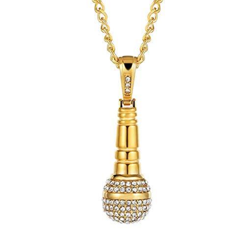 PAURO Herren Edelstahl Hip Hop Diamant CZ Mikrofon Anhänger Charme Halskette Mit Kette 24', Gold Klein