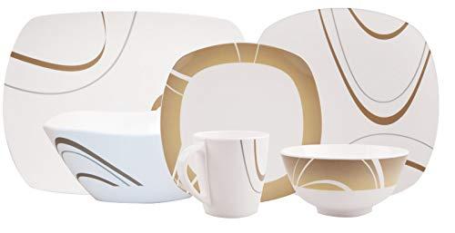 100% Melamin-Geschirr Cappuccino elfenbeinweiss/braun eckig, 6-teilig für 1 Pers / 10-teilig für 2 Pers / 18-teilig für 4 Pers / 26-teilig für 6 Pers, Camping-Geschirr Tafel-Service PicknikTrekking