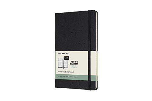 Moleskine - 2021 2022 Monatliches Tagebuch, horizontales Layout, Hardcover und elastischer Verschluss, schwarze Farbe, große Größe 13x21 cm, deutsche Version