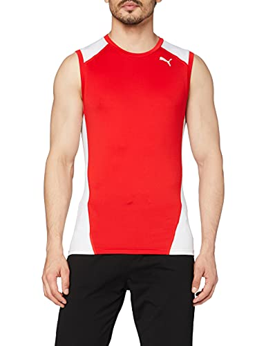Puma Cross The Line Sleevelesstop Camiseta, Hombre, Red White, S
