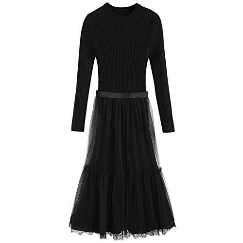 BINGQZ Gebreide jurk vrouwelijke winter nieuwe over-the-knee trui met rok tweedelige pak herfst en winter primer rok