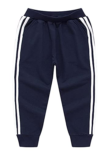 CesAnnees Boys Sweatpants Toddler Kids Side Stripes Cotton Elastic Casual Joggers Pant 2-8 Years Darkblue