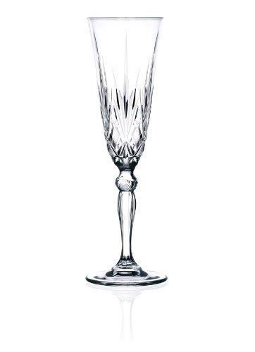 Crystal Sektglas, Sektkelch Melodia, Champagne Flute, geschliffenes Glas 160 ml, 6-er Set, aus Toskana