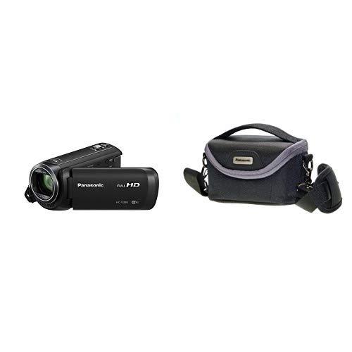 Panasonic HC-V380EG-K Full HD Camcorder (Full HD, 50x optischer Zoom, 28 mm Weitwinkel, optischer 5-Achsen Bildstabilisator Hybrid OIS+, WiFi) schwarz & VW-PH80XE-K Robuste Softtasche