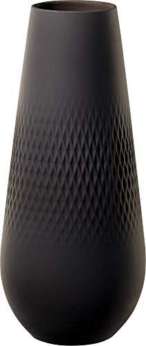 Villeroy & Boch Collier Noir Vase Carré No. 3, 11,5x11,5x26 cm, Premium Porzellan, Schwarz