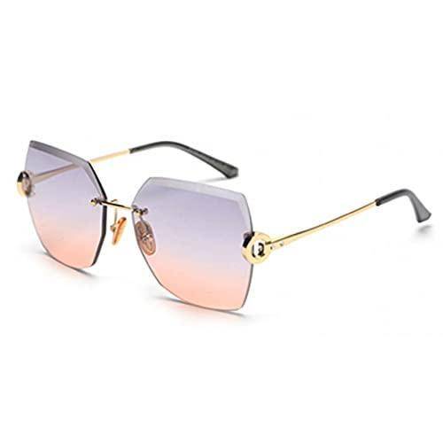 LUOXUEFEI Gafas De Sol Gafas De Sol Para Mujer Gafas De Sol Marrones Sin Montura Cuadradas Grandes Para Mujer