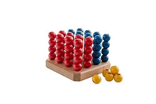 Quaterni 3D / Vier-in-Einer-Reihe-gewinnt-Spiel in 3 Dimensionen für 3 Spieler / Maße: 13 x 13 x 10 cm / Material: Holz