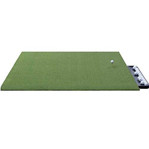 DURA-PRO Urethane Backed Wood Tee Golf Mat - 4x5 Feet Premium Turf Indoor Outdoor Mat - Golf Stance Mat for Pros & Beginners w Golf Accessory (Golf Tray)