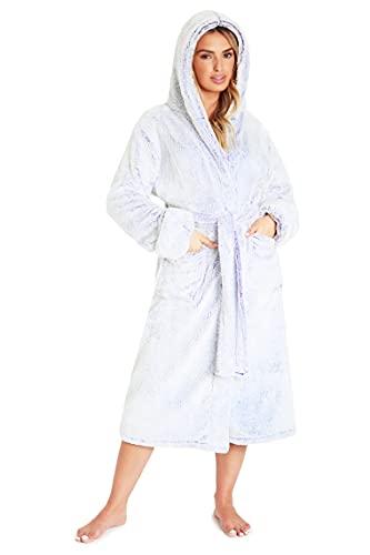 CityComfort Albornoz para mujer con capucha, lujoso y esponjoso para mujer, color gris, Morado (, XL