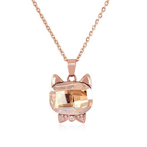 nobel-schmuck Kette Katze mit Kristall von Swarovski® Rosegold Anhänger Halskette