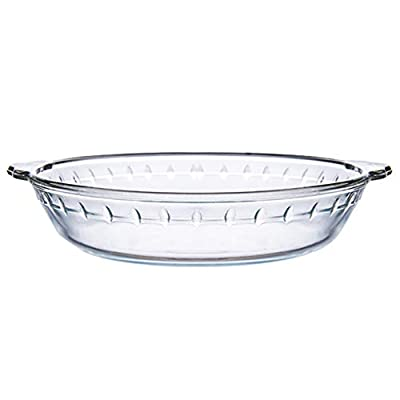 HEMOTON Round Glass Pie Plate Pie Baking Plate Round Tart Pan Quiche Pan for Apple Pie Quiche and Cheesecakes 8 inches