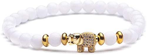 XIAOGING Pulsera de Piedra Mujer, 7 Chakra Piedra Blanca Natural Bangle Elástico Golden Elephant Animal Jewelry Yoga Ora Energía Encanto Difusor Pulsera Mujeres para Regalo