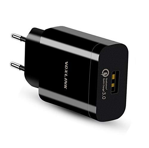 Quick Charge 3.0 Cargador Móvil 18W QC 3.0 Cargador de Red USB Carga Rapida para Samsung S9 / S8 / S7 / S6 Edge/Plus, Note 8, Huawei P20, Xiaomi, LG G5 / G6, Nexus 5X / 6P,iPhone X/8/8 Plus, iPad Pro / Air / Mini, MP3/MP4