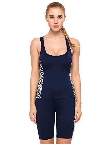 Adelina dames elastische Sportwear sweatpak sportpak joggingpak trainingspak tweedelig fitness yoga modieuze set met tanktop en shorts in zwart blauw