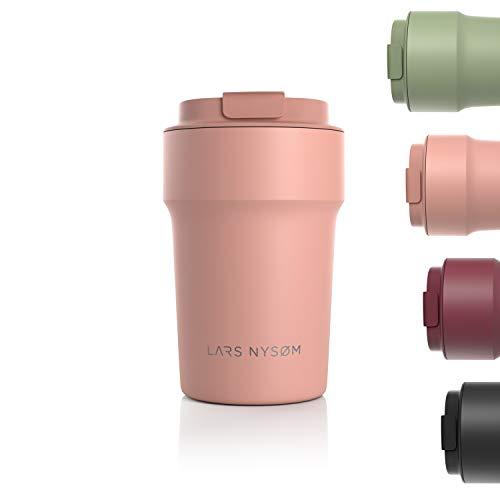 LARS NYSØM Thermo Kaffeebecher-to-go 380ml | BPA-freier Travel Mug 0.38 Liter mit Isolierung | Auslaufsicherer Edelstahl Thermobecher für Kaffee und Tee unterwegs | Teebecher (Nude)