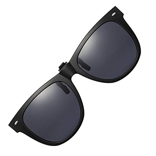 Polarized Clip-on Sunglasses Unisex Anti-Glare Driving Sunglasses With Flip Up for Prescription Glasses (ROUND - BLACK)