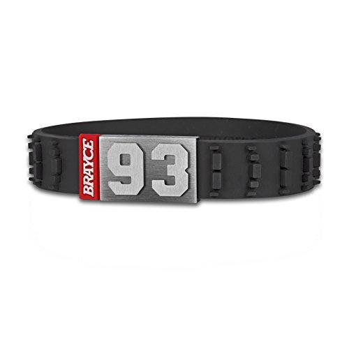 BRAYCE® Motorsport Armband im Motocross Reifen Style mit Deiner Nummer 00-99 I Motocross & Dirtbike I Geschenk für Biker, Motorradfahrer & stolze Motocrosshelm Träger personalisierbar & handgemacht