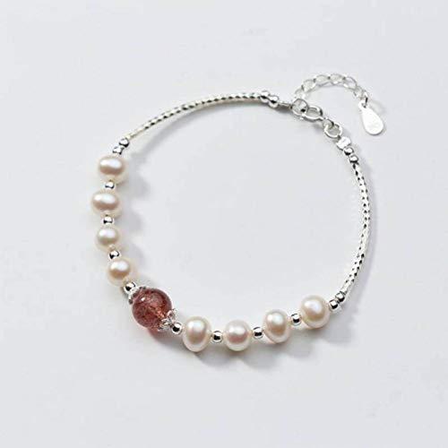 BinLZ S925 Silber Armband Weiblich Kleine Künstliche Perle Temperament Erdbeer Kristall Süß, s, S925 Silberarmband, Einheitsgröße
