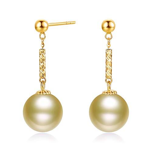 HLMAX Perla Dorada Natural 9-10Mm Pendientes De Oro 18K con Hermoso Paquete Regalo Ideal De Mujer Joyería