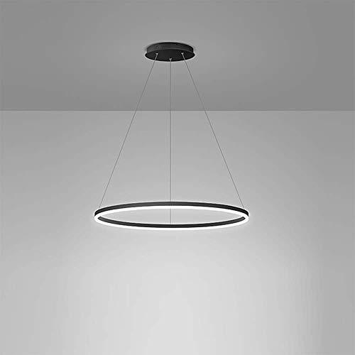 Lampadario a sospensione a cerchio singolo a 1 luce Lampadario ad anello moderno nordico Sospeso Lampada a sospensione a LED regolabile per soggiorno Camera da letto Sala da pranzo nero + b