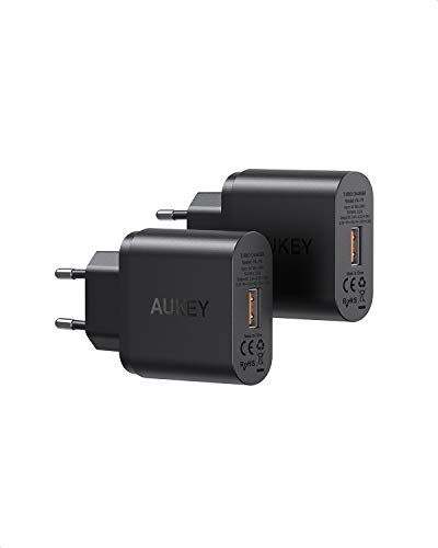 AUKEY (2 Pack Quick Charge 3.0 Cargador de Red 18W Cargador Móvil para Samsung Galaxy S8 / Note 8, LG G5, Nexus, HTC, iPhone XS/iPhone XS MAX/iPhone XR, iPad Pro/Air, Moto G4 y más