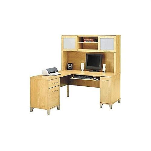 Bush Furniture Somerset 60' L-Shape Computer Desk with Hutch in Maple Cross