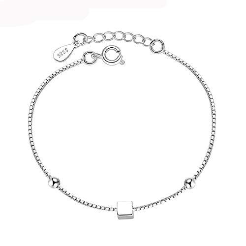 KIUY Señoras pulsera, plata esterlina mujer pulsera de lujo hecho a mano joyería cadena cinco puntas estrella moda simple cubo 16.5+3CM,A2