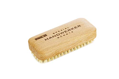 REMOS Spazzola per artigiani in legno con setole in fibra vegetale - [115 x 45 mm] - Spazzola per lavare e rimuovere lo sporco da mani, piedi e dita