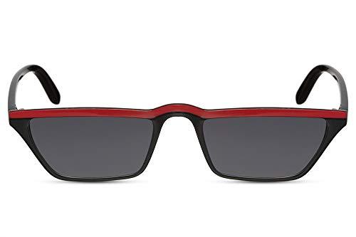 Cheapass Gafas de Sol Wide Cat Eye Montura Negra con Red Bar y Lentes Oscuras protección UV400 Mujer