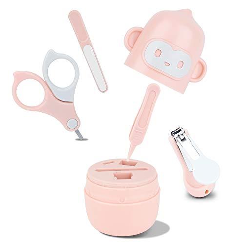Baby Nagelpflegeset Neugeborene mit Baby Nagelschere ,Nagelknipser, Baby Nasenpinzette, Nagelfeile und Pinzette für Kinder und Neugeborene in süßer Affe Geschenk-Verpackung