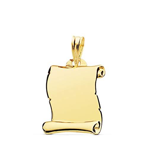 Colgante Pergamino liso Oro Amarillo 18 Kilates 18mm Joya personalizada