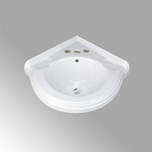 Portsmouth 22' Corner Wall Mount Bathroom Sink In White With Overflow And Bracket Grade A Porcelain Renovators Supply Manufacturing