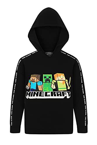 Sudadera con capucha oficial de Minecraft Time To Mine, color negro, Negro, 12-13 Años