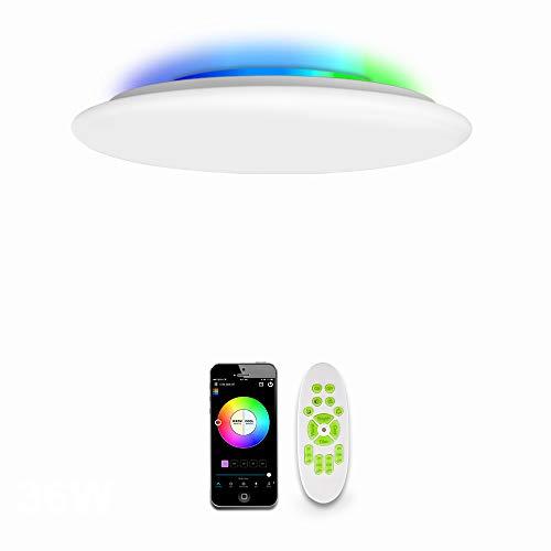 OFFDARKS WiFi LED Lámpara de techo compatible con Amazon Alexa y Google Assistant, brillo ajustable, luz de color, APP + Control Remoto,para sala de estar, dormitorio,habitación de niños φ39cm-55w
