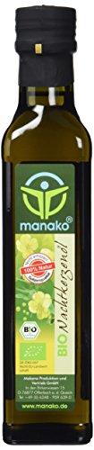 manako BIO - Nachtkerzenöl, nativ gepresst, 100% rein, 250 ml Glasflasche (1 x 0,25 l)