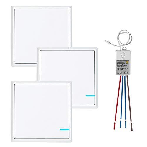 TSSS Funkschalter Lichtschalter mit Empfänger LED Anzeige Licht Set - Außen 600m Drinnen 40m - Schnell erstellen Ein/Aus Fernbedienung Deckenlampe LED Lampen Birne (3 Steuerung 1)