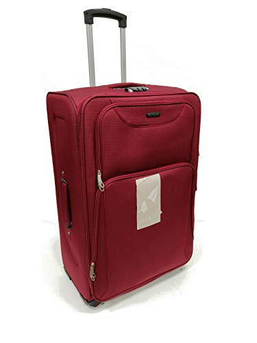 4 Spinner Wheeled Lightweight Luggage Set Suitcase Travel Trolley Case Bag Spinner Wheel Cabin Approved, Medium, Large, Extra Large 3 Colors (Burgundy, Medium 26' (64 x 43 x 27.5 cm))