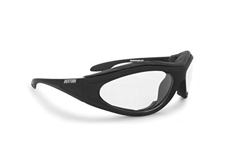 Bertoni Occhiali Fotocromatici per Moto Antivento Avvolgenti - Lente Antiurto Antiappannante con Spugna Interna Antivento Removibile - F125 Italy