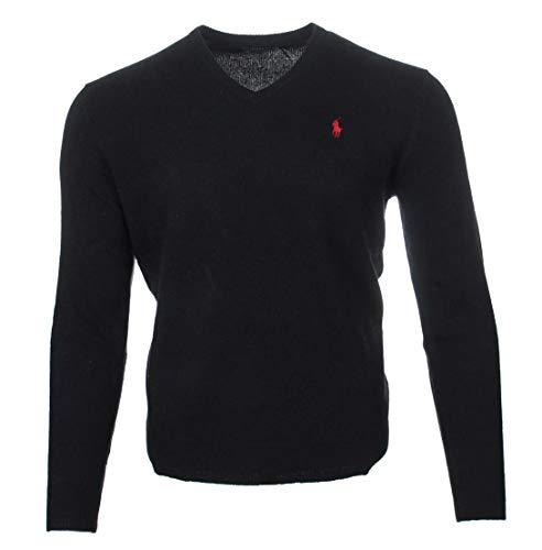 Ralph Lauren Pull en laine à col en V pour homme - Noir - X-Large
