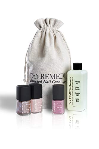 Dr.'s REMEDY Enriched Nail Polish, SMART START Pink Kit With Free Remedy Remover and Signature Jute Bag, 5.7 Fluid Ounce