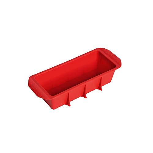 Kaiser Flexo Silikon Königskuchenform 25 cm, Silikon Kastenform antihaftbeschichtet, Silikonbackform, gefriergeeignet, mikrowellengeeignet, rot