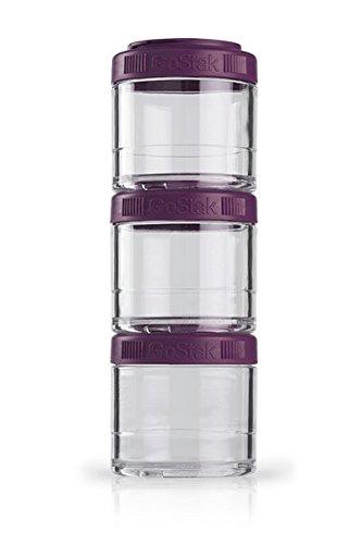 BlenderBottle GoStak Behälter zum Aufbewahren von Protein, Eiweiß, Pulver, Vitaminen und mehr- 3Pak 100ml (3x100ml), plum