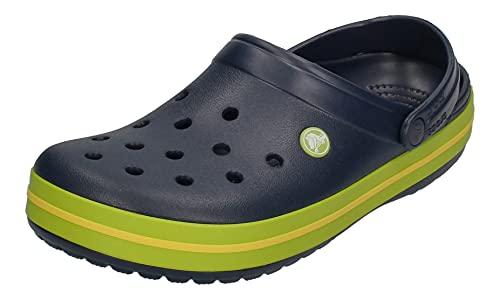 Crocs Unisex-Adult Men's and Women's Crocband Clog, Navy/Volt Green/Lemon, 7